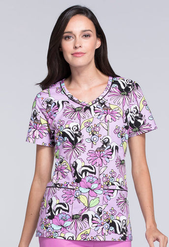 Disney By Cherokee Women's V-Neck Bambi Scrub Top (Call Me Flower)