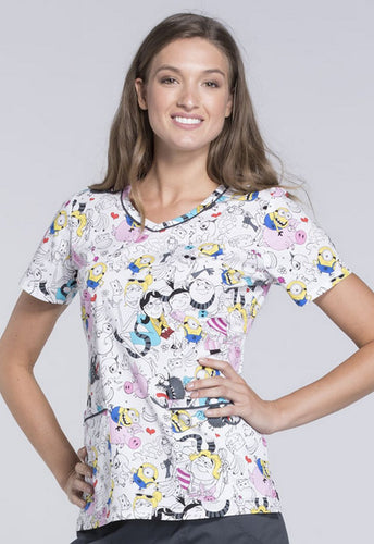 Disney By Cherokee Women's V-Neck Minions Scrub Top (Doodle Family)