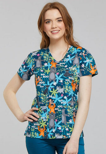 Disney Women's V-Neck Jungle Book Print Scrub Top (Jungle Jazz)