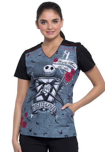 Disney Nightmare Before Christmas V-Neck Scrub Print Top (Misfit Love)