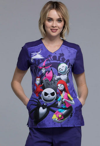 Disney Women's Halloween Print Top Nightmare Before Christmas (R.I.P)