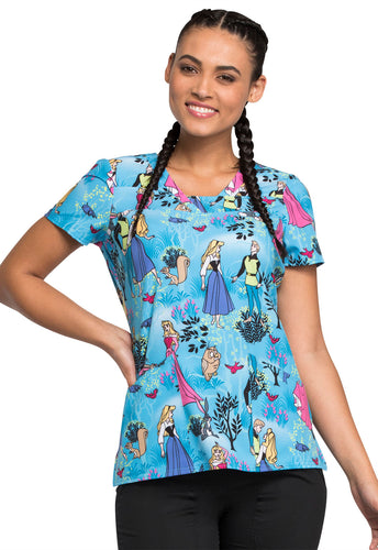 Disney by Cherokee Sleeping Beauty V-Neck Scrub Top