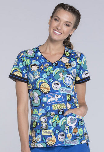 Disney Women's V-Neck Charlie Brown & Friends Print Top (Peanuts)