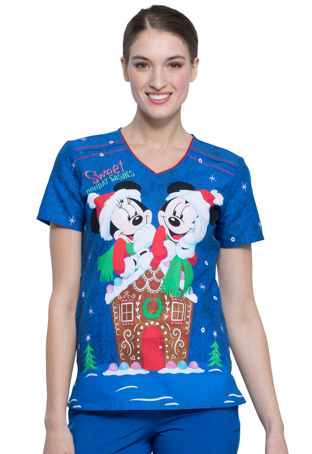 Disney Mickey Holiday Scrub Print by Cherokee (Ginger Snappy)