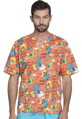 Disney Looney Tunes Print Scrub Top (  Speedy Gonzales )