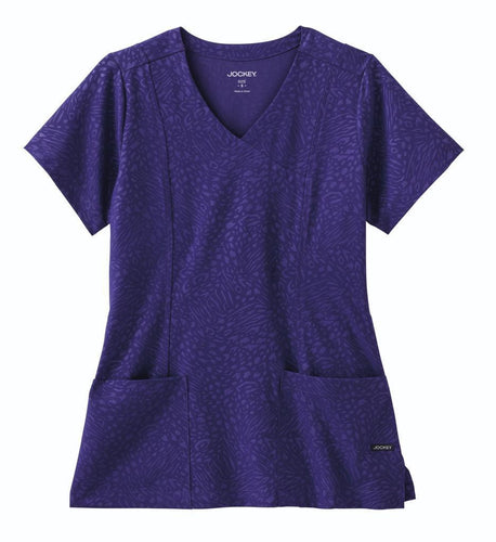 Jockey Scrub Top (Purple Tonal Embossed)