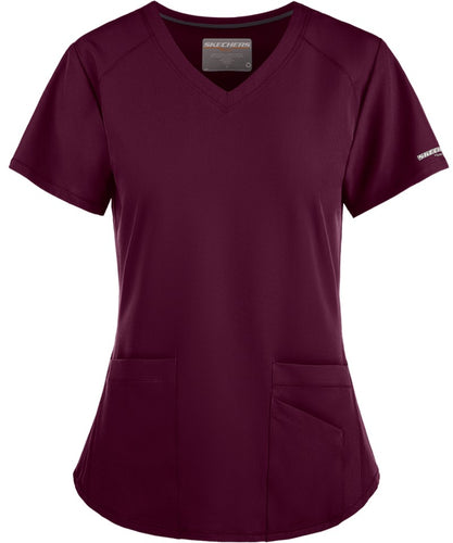 Skechers Vitality V-Neck Wine Scrub Top