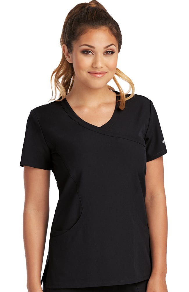 Skechers Women's Reliance Black Mock Wrap Solid Scrub