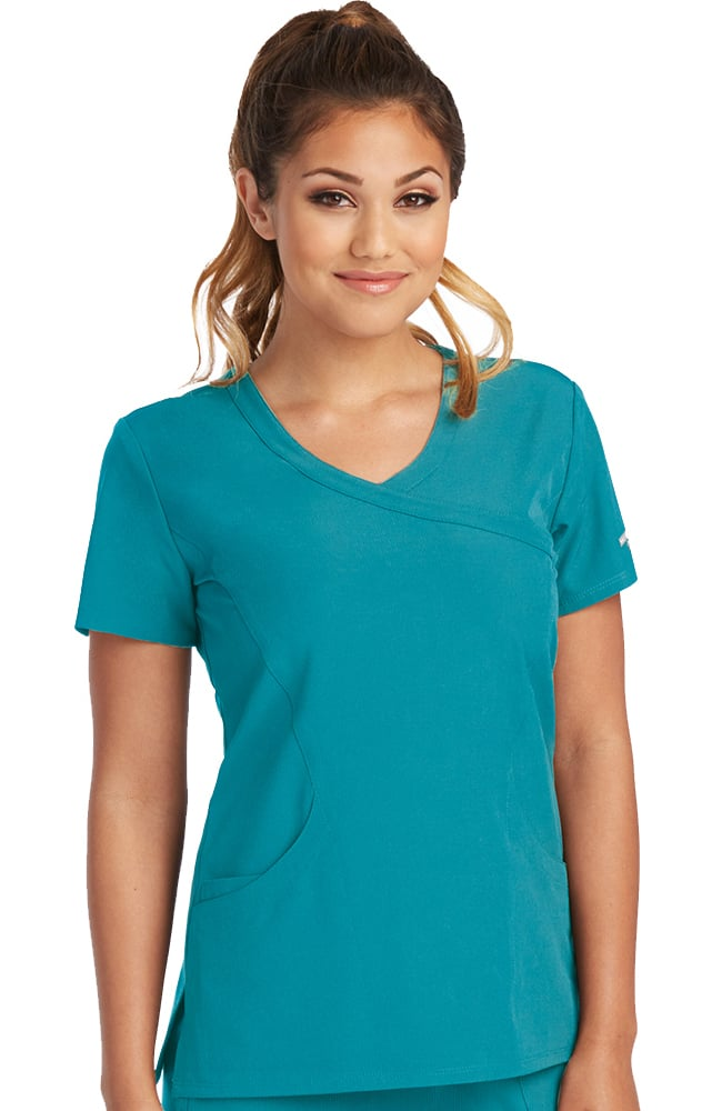 Skechers Women's Reliance Teal Mock Wrap Solid Scrub