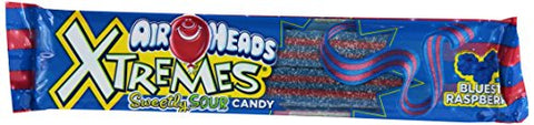 Airheads Xtremes Sweetly Sour Candy Belts - Bluest Raspberry - 2 Ounce - Bulk Pack of 18-Mentos-pantryperks