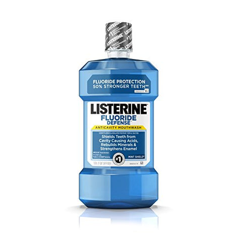 Listerine Fluoride Defense Anticavity Mouthwash For Bad Breath - Mint Shield - 1 L - Pack Of 6-Listerine-pantryperks