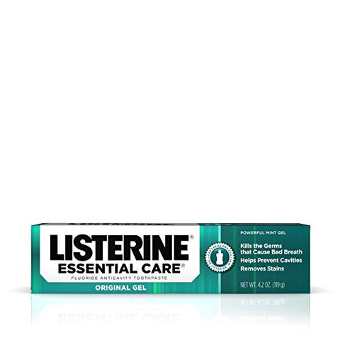 Listerine Essential Care Powerful Mint Original Gel Fluoride Toothpaste - Oral Care - 4.2 Oz - Pack of 6-Listerine-pantryperks