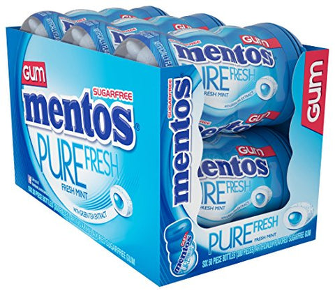 Mentos Pure Fresh Sugar-Free Chewing Gum with Xylitol - Fresh Mint - 50 Piece Bottle - Pack of 4-Mentos-pantryperks