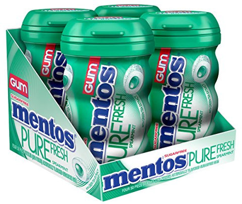 Mentos Pure Fresh Sugar-Free Chewing Gum with Xylitol - Spearmint - 50 Piece Bottle - Pack of 4 - stocking stuffer-Mentos-pantryperks
