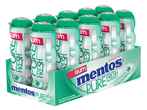 Mentos Pure Fresh Sugar-Free Chewing Gum with Xylitol - Spearmint - 15 Piece Bottle - Pack of 10-Mentos-pantryperks