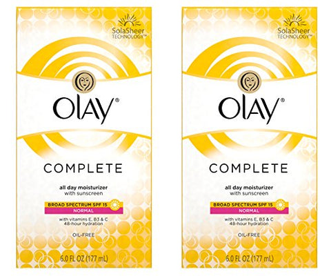 Olay Complete Lotion All Day Moisturizer with SPF 15 for Normal Skin - 6.0 fl oz - Pack of 2-Olay-pantryperks