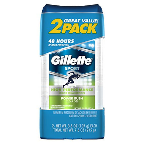 Gillette Sport High Performance Antiperspirant / Deodorant Power Rush Clear Gel - 3.8 Ounce - Twin Pack-Gillette-pantryperks