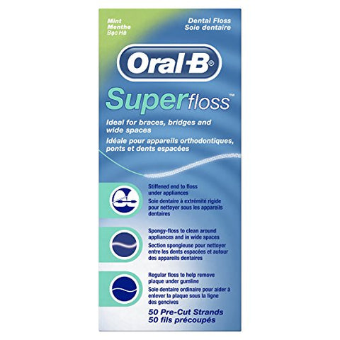 Oral-B Mint Pre-Cut Strands Super Floss - 50 Count-Oral-B-pantryperks