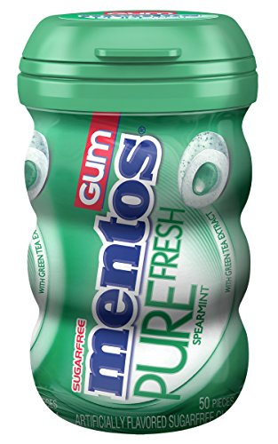 Mentos Pure Fresh Sugar-Free Chewing Gum with Xylitol - Spearmint - 50 Piece Bottle-Mentos-pantryperks