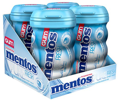 Mentos Pure Fresh Sugar-Free Chewing Gum with Xylitol - Sweet Mint - 50 Piece Bottle - Pack of 4-Mentos-pantryperks