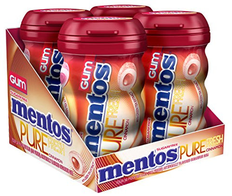 Mentos Pure Fresh Sugar-Free Chewing Gum with Xylitol - Cinnamon - 50 Piece Bottle - Pack of 4-Mentos-pantryperks