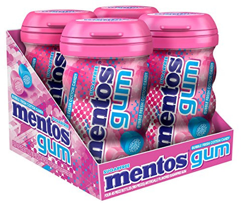 Mentos Sugar-Free Chewing Gum - Bubble Fresh Cotton Candy - 45 Piece Bottle - Pack of 4-Mentos-pantryperks