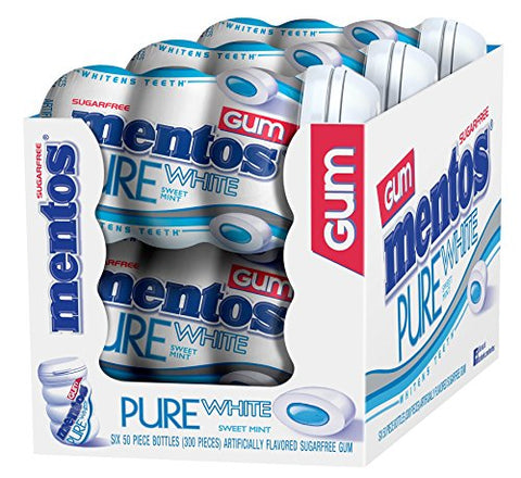 Mentos Pure White Sugar-Free Chewing Gum with Xylitol - Sweet Mint - 50 Piece Bottle - Pack of 4-Mentos-pantryperks
