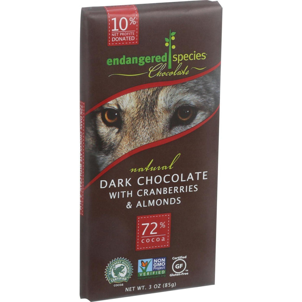 Endangered Species Dark Chocolate 72% Cocoa Bar Vegan Gluten Free Cranberry and Almonds - 3 oz-Endangered Species Chocolate-pantryperks