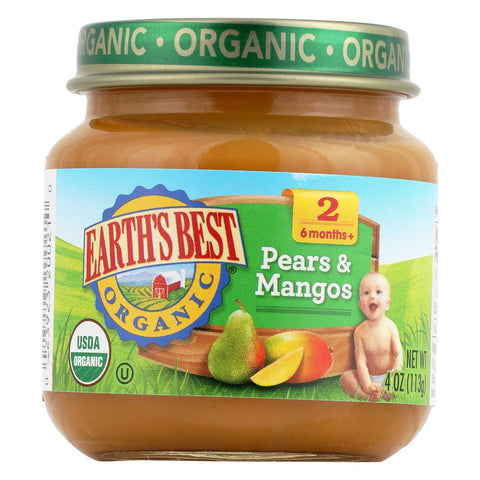 Earth's Best Organic Baby Food Stage 2 Pears and Mangos - 4 oz-Earth's Best-pantryperks