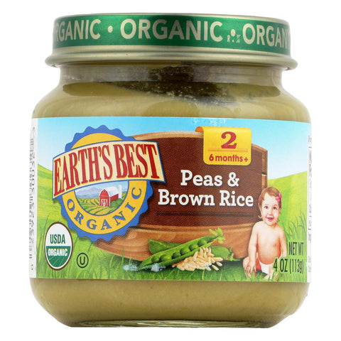 Earth's Best Organic Baby Food Stage 2 Peas & Brown Rice - 4 oz-Earth's Best-pantryperks