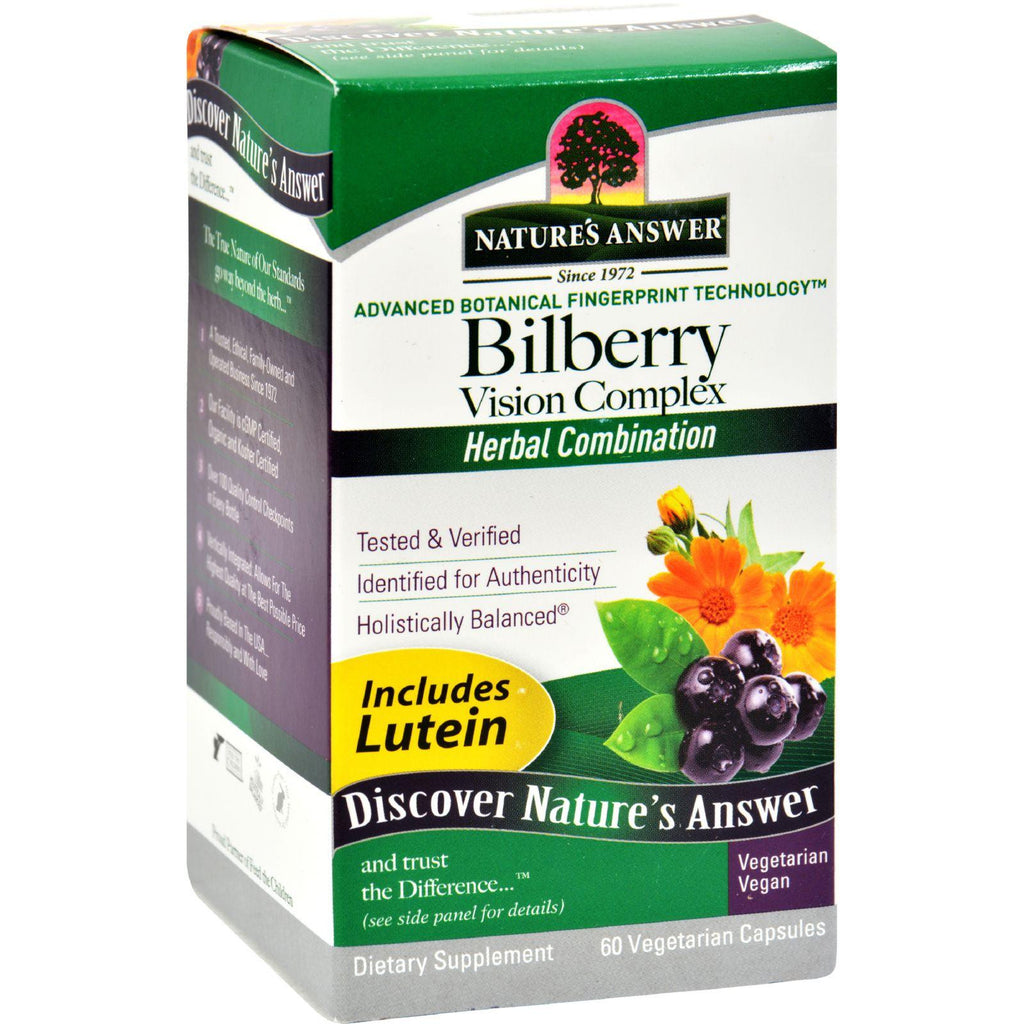 Nature's Answer Bilberry Vision Complex Plus Lutein - 60 Vegetarian Capsules-Nature's Answer-pantryperks