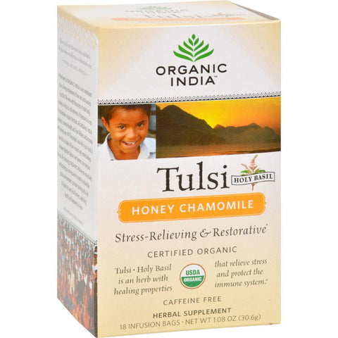 Organic India Tulsi Tea Honey Chamomile - 18 Tea Bags-Organic India-pantryperks