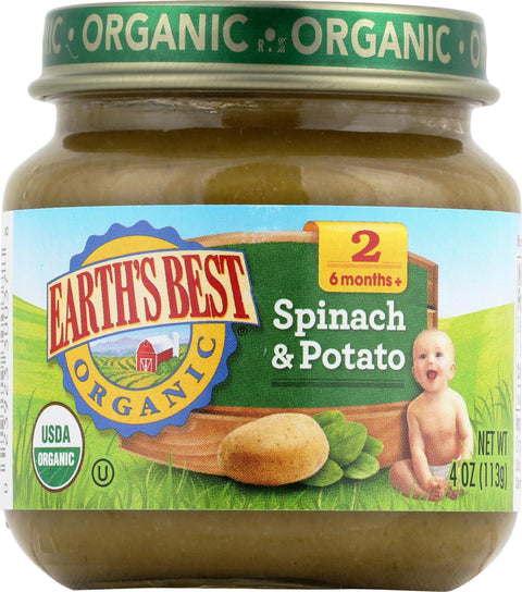 Earth's Best Organic Baby Food Stage 2 Spinach & Potatoes - 4 oz-Earth's Best-pantryperks