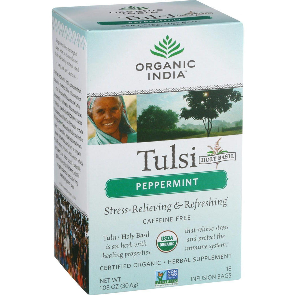 Organic India Tulsi Tea Peppermint - 18 Tea Bags-Organic India-pantryperks