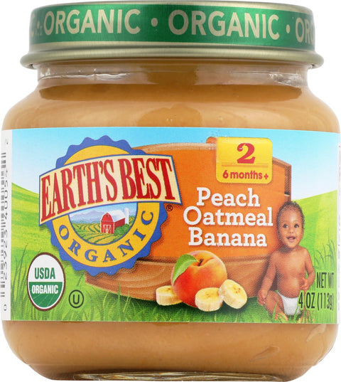 Earth's Best Organic Baby Food Stage 2 Peach Oatmeal & Banana - 4 oz-Earth's Best-pantryperks