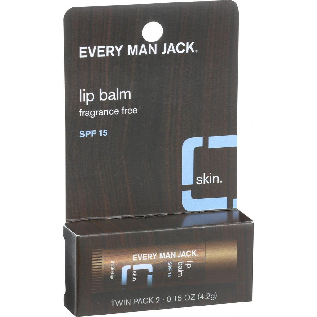 Every Man Jack Lip Balm - Fragrance Free - Spf 15 - Twin Pack - 2 Count - .15 Oz-Every Man Jack-pantryperks