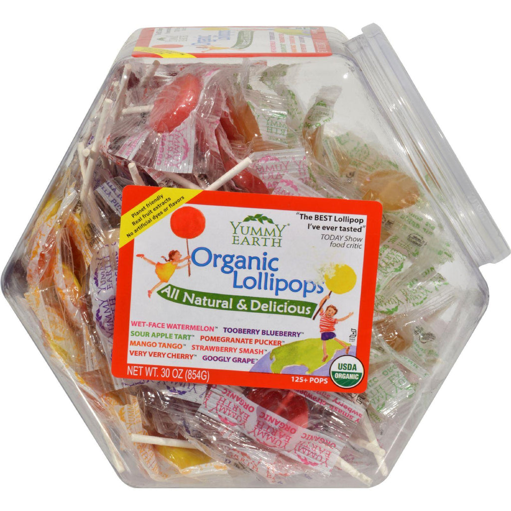 YumEarth Organic Natural Fruit Lollipops - 30 Ounce Container-Yummy Earth-pantryperks