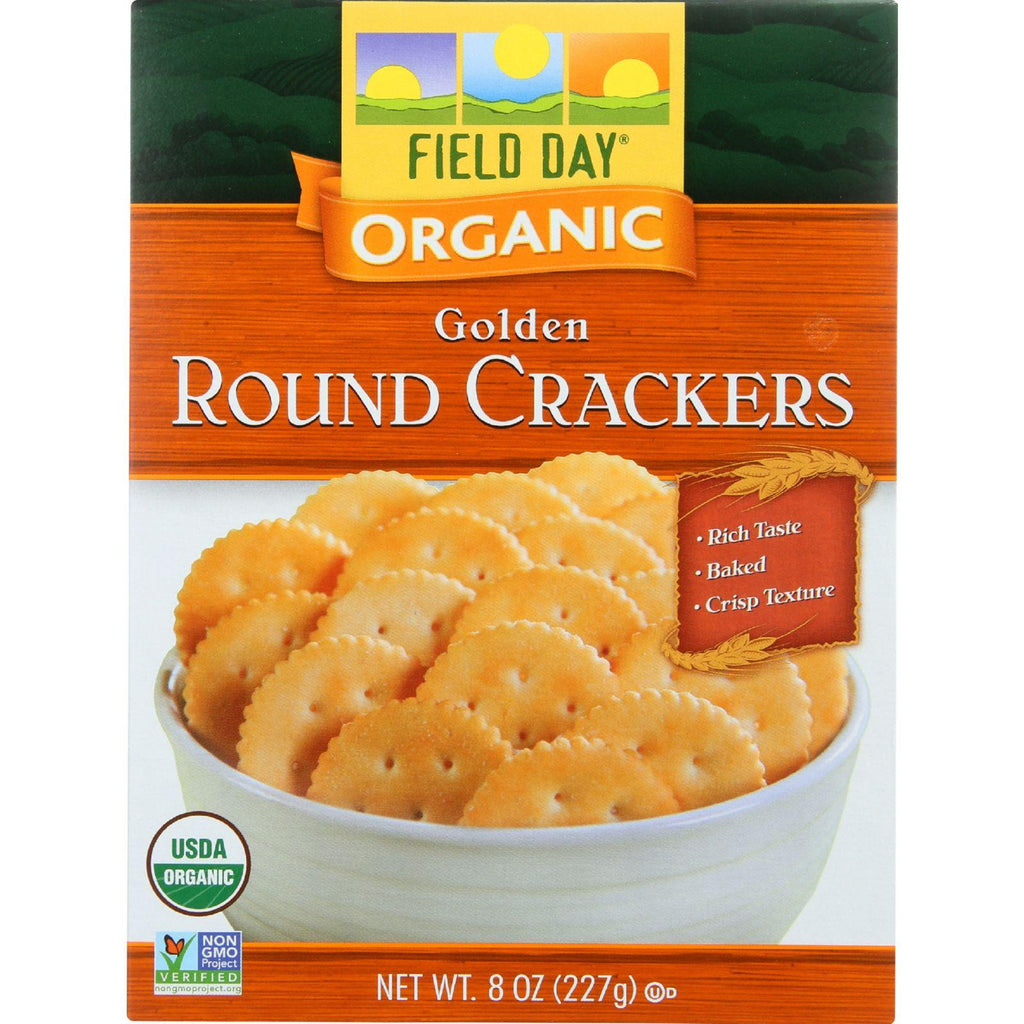 Field Day Crackers - Organic - Golden Round - 8 Oz - Case Of 12-Field Day-pantryperks