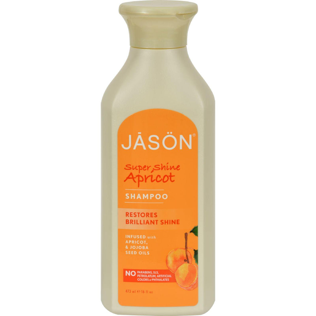Jason Super Shine Natural Shampoo Apricot - 16 Fl Oz-Jason Natural Products-pantryperks