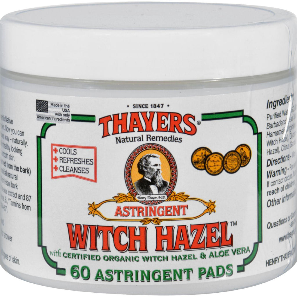 Thayers Witch Hazel With Aloe Vera - 60 Pads-Thayers-pantryperks