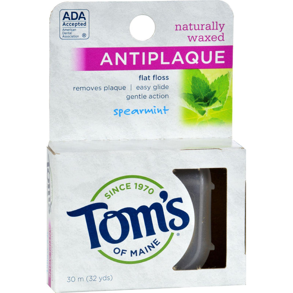 Tom's of Maine Naturally Waxed Antiplaque Flat Floss Spearmint - 32 Yards-Tom's Of Maine-pantryperks