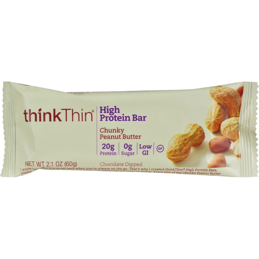 thinkThin High Protein Bars - Chunky Peanut Butter - 2.1 oz Bar - 10 Count-Think Products-pantryperks