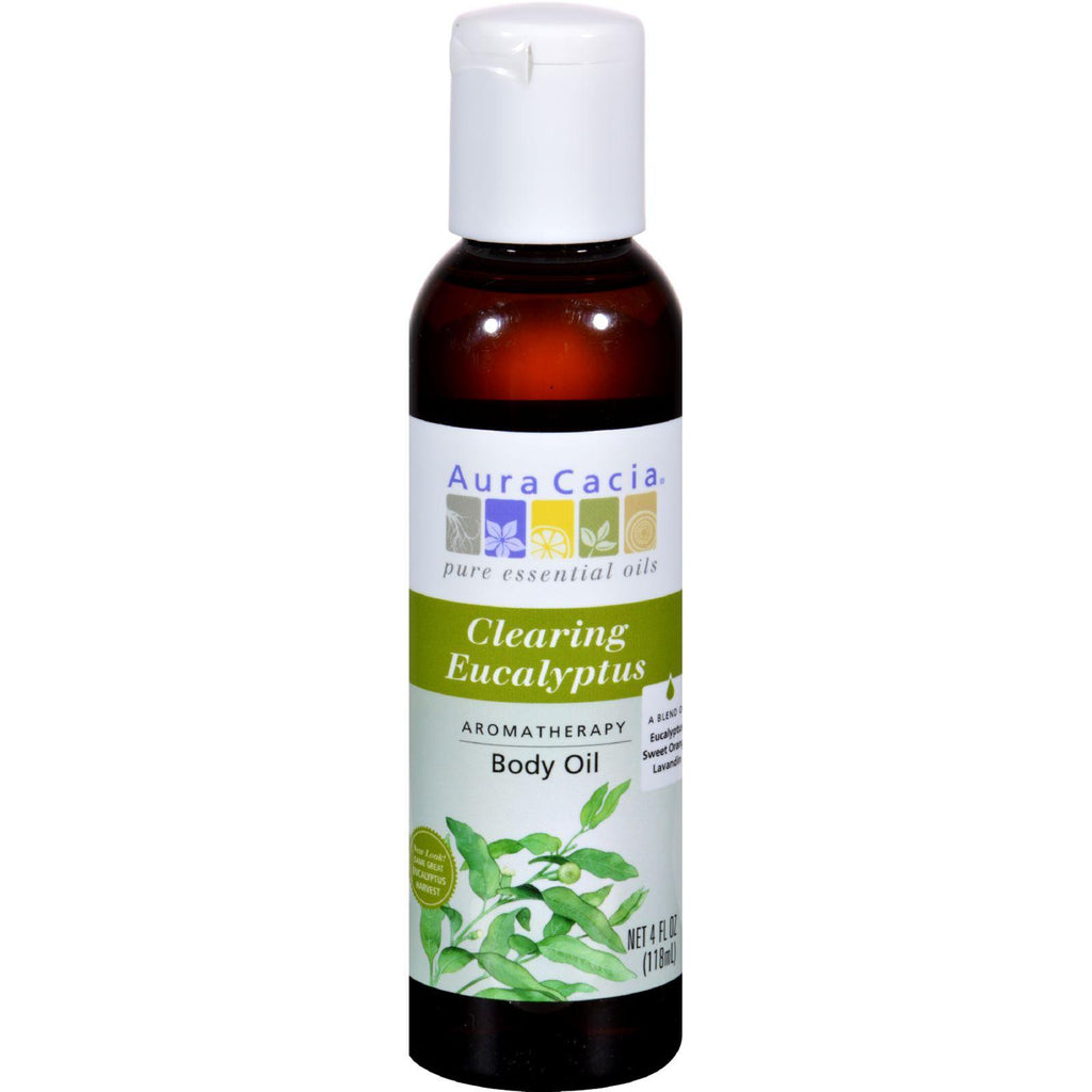 Aura Cacia Aromatherapy Bath Body And Massage Oil Eucalyptus Harvest - 4 Fl Oz-Aura Cacia-pantryperks
