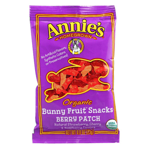 Annie's Homegrown Organic Bunny Fruit Snacks - Berry Patch - .8 Oz - Case Of 18-Annie's Homegrown-pantryperks