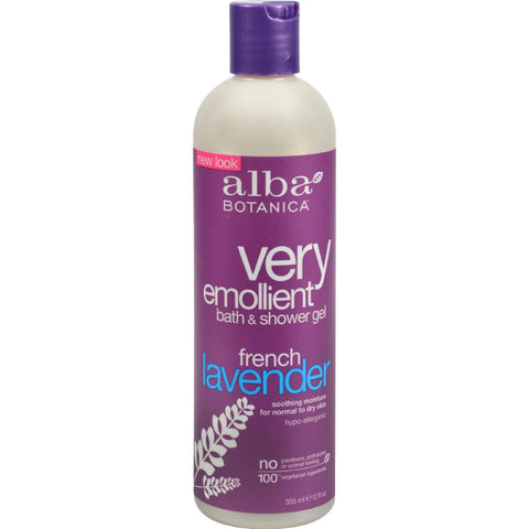 Alba Botanica Very Emollient Bath And Shower Gel French Lavender - 12 Fl Oz-Alba Botanica-pantryperks