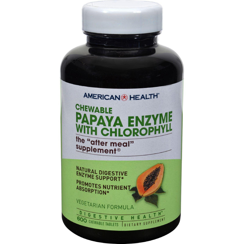 American Health Papaya Enzyme With Chlorophyll Chewable - 600 Chewable Tablets-American Health-pantryperks