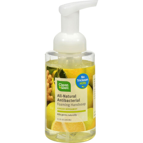 CleanWell All-Natural Antibacterial Foaming Handsoap Ginger Bergamot - 9.5 fl oz-Cleanwell-pantryperks