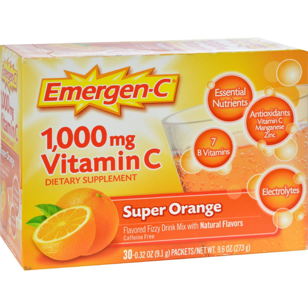 Emergen-C Dietary Supplement Drink Mix with 1000 mg Vitamin C - 0.32 Ounce Packets - Caffeine Free - Super Orange Flavor - 30 Count-Alacer-pantryperks