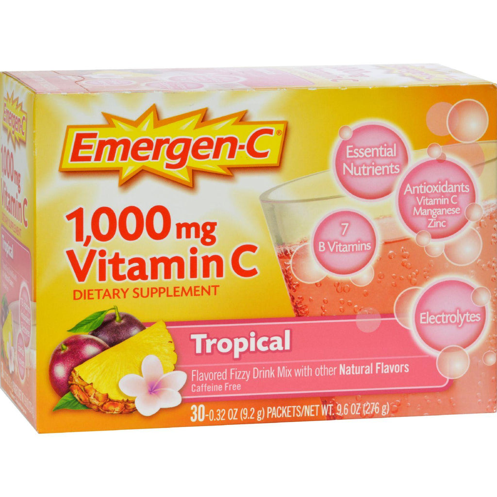 Emergen-C Vitamin C Fizzy Drink Mix Tropical - 1000 mg - 30 Packets-Alacer-pantryperks