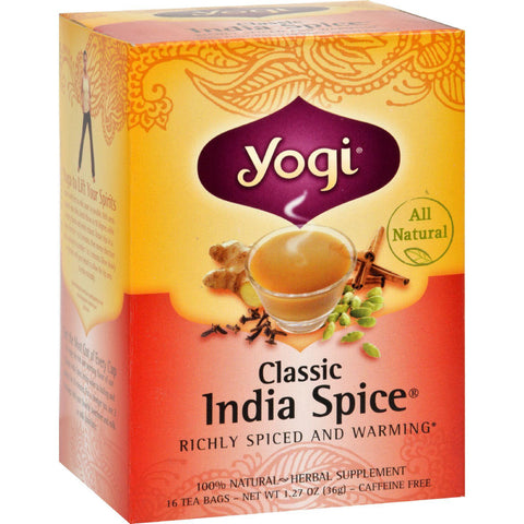 Yogi Herbal Tea Caffeine Free Classic India Spiceå¨ - 16 Tea Bags-Yogi-pantryperks